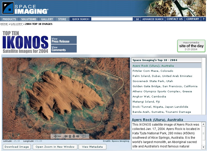 Space Imaging 2004 Top 10 Images