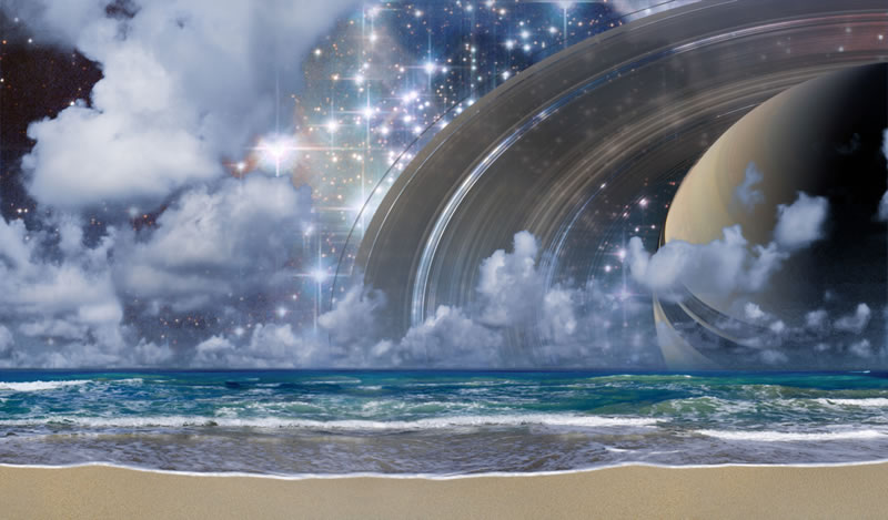 My son called me a philosopher of stars after creating this particular piece of space art. I've always loved astronomy and space art is the epitomy of our explorations. Art shows a Universe full of imagination and possibility; what-ifs. I'm drawn to create this way. Saturn Beach is a fairly complex photo-illustration in Photoshop using my own images and  imagery from Hubble Space Telescope and the spacecraft Cassini currently orbiting Saturn.