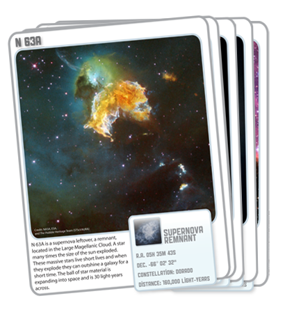 Hubble Star Cards provide teachers and students a fun and exciting way to explore the universe using imagery from the orbiting telescope. The images on the cards motivate and engage students to read while developing strategies in learning about objects in space.  The cards won a Hubble Gold Star award from NASA and IGES for innovative use of Hubble imagery in informal science education as well as an Independent Book Publishing Award (IPPY) in children's interactive.  Game cards include 60 cards divided into general sections of planets, planetary nebulae, supernova remnants, nebulae, star clusters and galaxies. The cards include an image, a basic description, a key to the type of object, location in the sky, constellation, and distance from Earth.