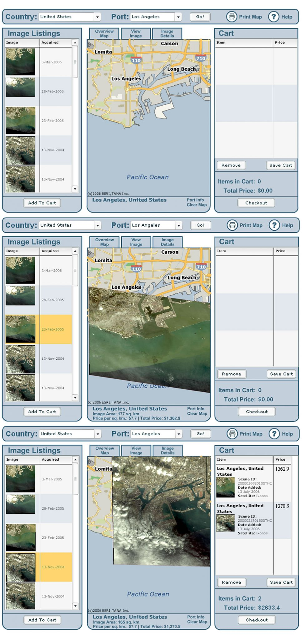 Flash-based application that searched for imagery related to a sea port and displayed imagery based on criteria.